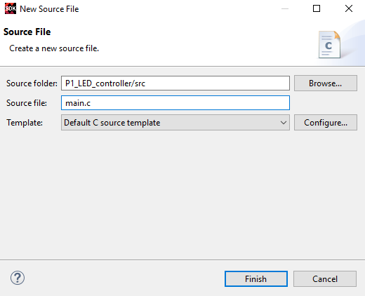 Figure 8. Add main.c to Application Source Folder