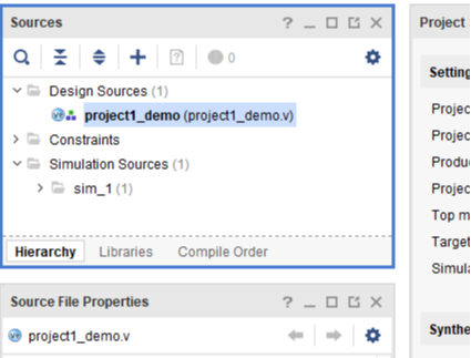 Figure 4. project1_demo appears in design sources